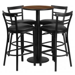 "24"" Round Walnut Table Set with 4 Ladder Back Black Vinyl Bar Stools"