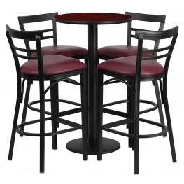 "24"" Round Mahogany Table Set with 4 Ladder Back Burgundy Vinyl Bar Stools"