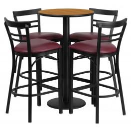 "24"" Round Natural Table Set with 4 Ladder Back Burgundy Vinyl Bar Stools"