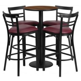 "24"" Round Walnut Table Set with 4 Ladder Back Burgundy Vinyl Bar Stools"