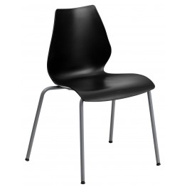Hercules Series Black Stack Chair with Lumbar Support and Silver Frame