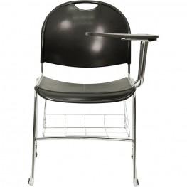Black High Density Left Facing Tablet Arm Chair with Chrome Frame