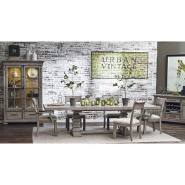 Prospect Hill Gray Rectangular Extendable Pedestal Dining Room Set