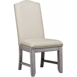 Prospect Hill Gray Upholstered Back Side Chair Set of 2