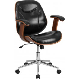 Black Executive Wood Swivel Office Chair