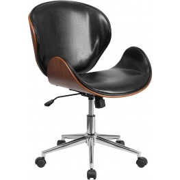Walnut Wood and Black Swivel Conference Chair