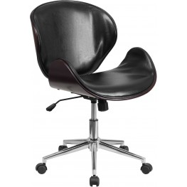 Mahogany Wood and Black Swivel Conference Chair