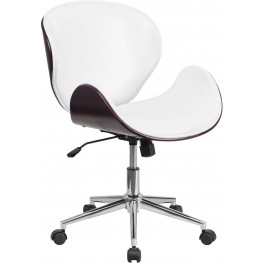 Mahogany Wood and White Swivel Conference Chair