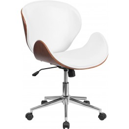 Walnut Wood and White Swivel Conference Chair