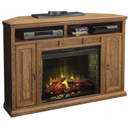 """Scottsdale 56"""" Brown Corner Fireplace Console"""