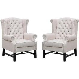 Fairfield Beige Linen Club Chair Set of 2