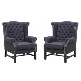 Fairfield Grey Linen Club Chair Set of 2