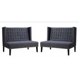 Halifax Grey Linen Banquette Bench Set of 2