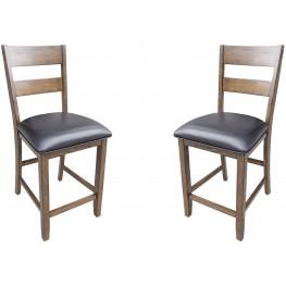 15b30ca13f4e Mariposa Rustic Whiskey Ladderback Counter Chair Set of 2