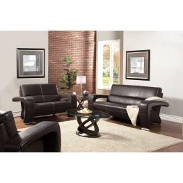 Enez Espresso Leatherette Living Room Set