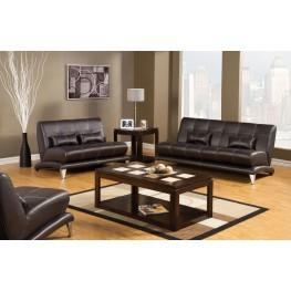 Artem Espresso Leatherette Living Room Set