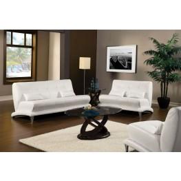Artem White Leatherette Living Room Set