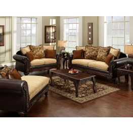 Doncaster Fabric and Espresso Leatherette Living Room Set