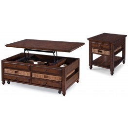 Cottage Lane Coffee Wood Occasional Table Set