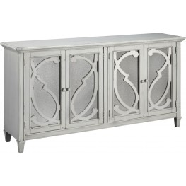 Mirimyn Distressed Gray Vintage Painted Door Accent Cabinet