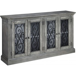 Mirimyn Antique Gray Door Accent Cabinet