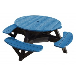 """Generations Blue 51"""" Round Black Frame Picnic Table"""