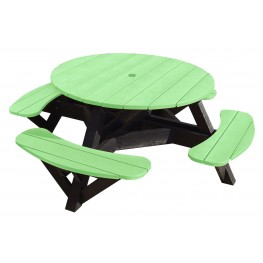 """Generations Lime Green 51"""" Round Black Frame Picnic Table"""
