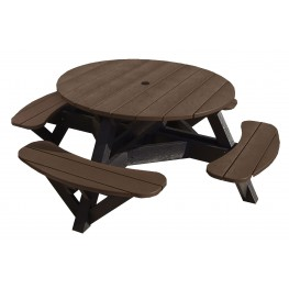 """Generations Chocolate 51"""" Round Black Frame Picnic Table"""
