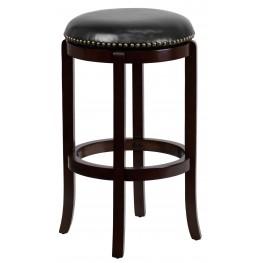 29Inch Backless Cappuccino Wood Black Swivel Bar Stool