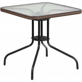 "28"" Dark Brown Square Tempered Glass Metal Table"