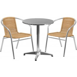 "23.5"" Round Aluminum Indoor-Outdoor Table with 2 Beige Rattan Chairs"