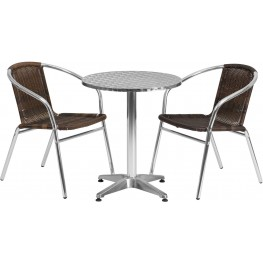 "23.5"" Round Aluminum Indoor-Outdoor Table with 2 Dark Brown Rattan Chairs"