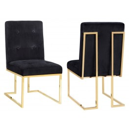 Akiko Black Velvet Chair Set of 2
