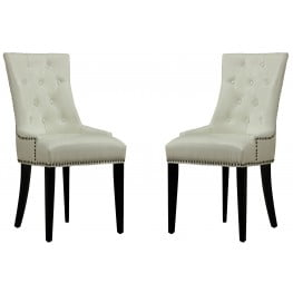 Uptown Cream Leather Dining Chair Set of 2
