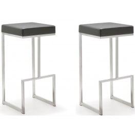 Ferrara Grey Stainless Steel Barstool Set of 2