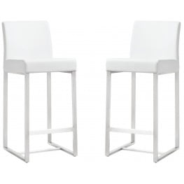Denmark White Stainless Steel Counter Stool Set of 2