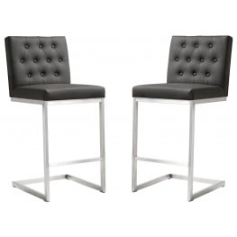 Helsinki Grey Stainless Steel Counter Stool Set of 2