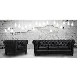 Zahara Black Leather Living Room Set