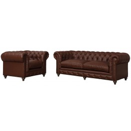 Durango Antique Brown Leather Living Room Set