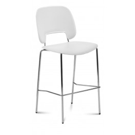 Traffic White Lacquered Steel Chrome Frame Stacking Chair