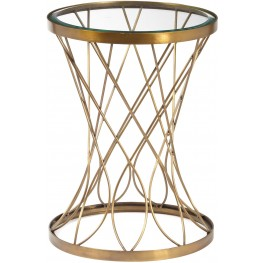 Concave Round Brass Metal Glass Top Accent Table