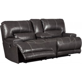 McCaskill Gray Double Reclining Console Loveseat