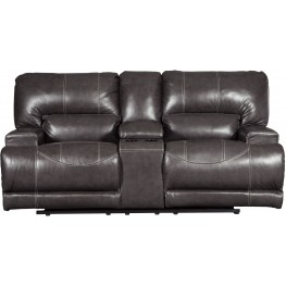 McCaskill Gray Double Power Reclining Console Loveseat