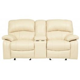 Damacio Cream Glider Power Reclining Loveseat with Console