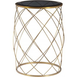 Convex Round Brass Metal Smoked Glass Top Accent Table