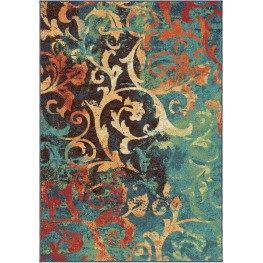 Spoleto Bright Color Scroll Nepal Scroll Multi Medium Area Rug