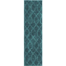 Spoleto Bright Color Geometric Geo Loop Blue Runner Rug