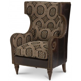 Victoria Palace Leather/Fabric Wing Chair
