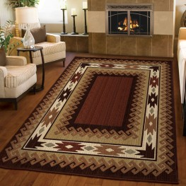Elegant Revival Lodge Durango Brown Medium Area Rug