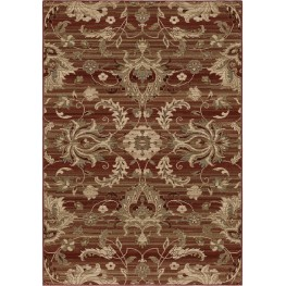 Elegant Revival Leaves Cae Red Medium Area Rug